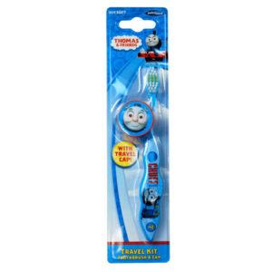 Thomas tog tandbørste til børn over 3 år her i blå